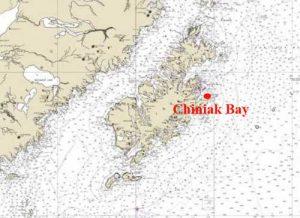 Location of Chiniak Bay on Kodiak Island. Image-NOAA Charts