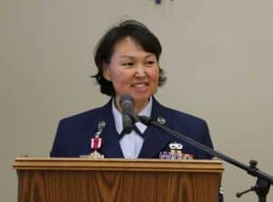 Alaska Air Guard Master Sgt. Ella Doak, 168th Wing, speaks to friends and family members during her retirement ceremony in Kipnuk, Alaska, Nov. 9, 2018. Doak chose to have the ceremony in her hometown after more than 24 years of dedicated service to the state and nation. (U.S. Army National Guard photo by Sgt. 1st Class Balinda O'Neal Dresel)