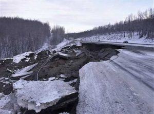 Damage to the Glenn Highway from the November earthquake. Image-AKDOT&PF