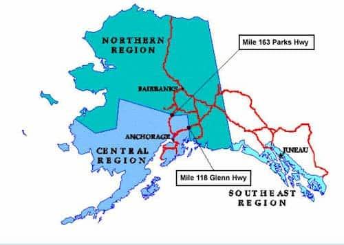 AK DOT&PF map of Alaska