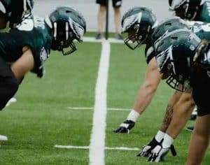 Philadelphia Eagle players participating in organized team activities. Image-Philadelphia Eagles.Com screenshot