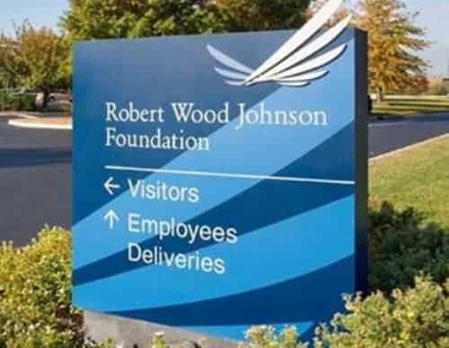 Robert Wood Johnson Foundation entrance sign.