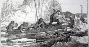 """A Frederick Whymper sketch of the breakup of Yukon River ice, spring 1867. From """"Travel and Adventure in the Territory of Alaska."""""""