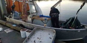Wildlife trooper conducting initial investigation of Jonathan McGraw's dive vessel in December 2017. Image-AST.