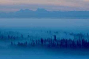 Ice fog blankets the Tanana Valley. The fog begins to form when the temperature drops below minus 35 Fahrenheit. Photo by Ned Rozell