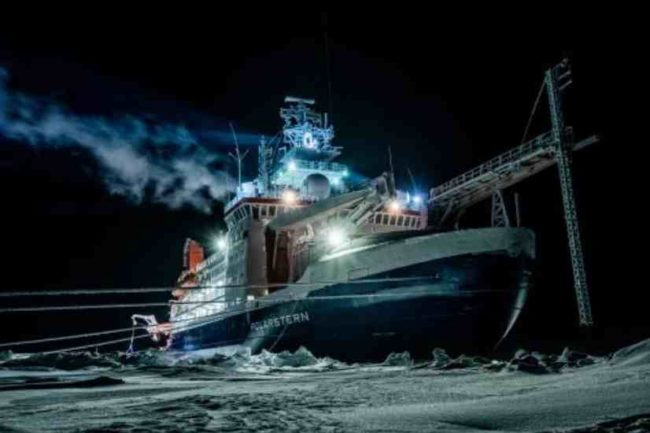 Photo by Lukas Piotrowski, Alfred Wegener Institute The research vessel Polarstern sits frozen into the Arctic Ocean ice. The icebreaker, owned by the Alfred Wegener Institute of Bremerhaven, Germany, will house more than 600 scientists from more than 20 countries before its yearlong mission ends in September 2020.