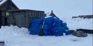 The checkpoint was moved to old Shaktoolik and residents repurposed an old building to provide heat, generator, lights, coffee pots, and microwave. Image-The Iditarod