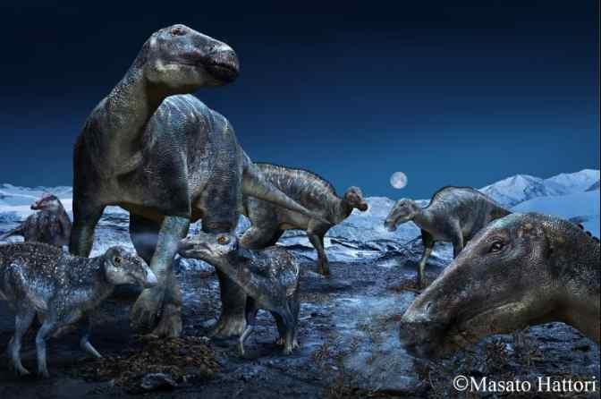 Dinosaurs Striding Across the Land Bridge