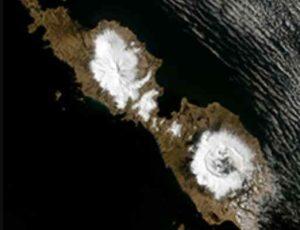 Alaska's Umnak Island showing the huge, 10-km-wide caldera created by the 43 BCE Okmok II eruption. Credit: USGS