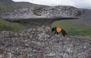 A Mushroom-shaped granite tor 60 miles from Fairbanks. Image-Ned Rozell