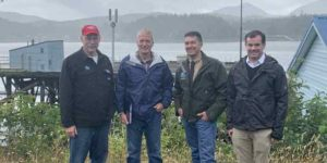 From left to right: Sen. Bert Stedman, R-Sitka; U.S. Sen. Dan Sullivan, R-Alaska; Ketchikan Borough Mayor Rodney Dial; and U.S. Secretary of Commerce Chief of Staff Michael Walsh Jr. in Ketchikan on August 8, 2020. Photo courtesy of the Office of Sen. Stedman.