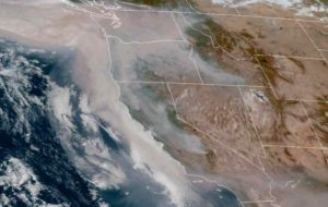 Smoke from the multiple fires raging in the western US as seen from NOAA GOES satellite on Saturday. Image-NOAA