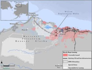 Map showing location of Willow Project in Alaska's arctic. Audobon Alaska