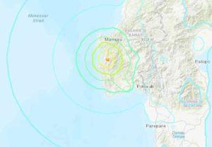 Location of major quake near Mamuju, Indonesia. Image-USGS