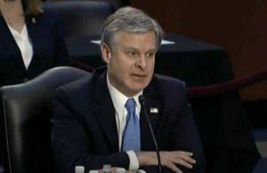 FBI Director Christopher Wray testifies before Senate Judiciary Committee Tuesday. Image-Internet screengrab
