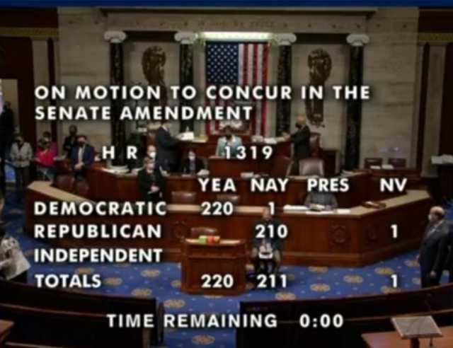 Not One Single GOP Vote as House Democrats Send 'Historic' $1.9 Trillion Relief Bill to Biden's Desk
