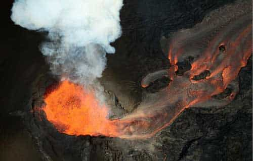 Lava flows from Hawaii's Kilauea Volcano, which is being studied with help from researchers from the University of Alaska Fairbanks. Photo by Jeff Freymueller.
