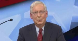 Senate Majority Leader Mitch McConnell (R-Ky.) during a debate with Democratic opponent Amy McGrath on Monday, October 13, 2020. (Photo: Screengrab/CBS News)