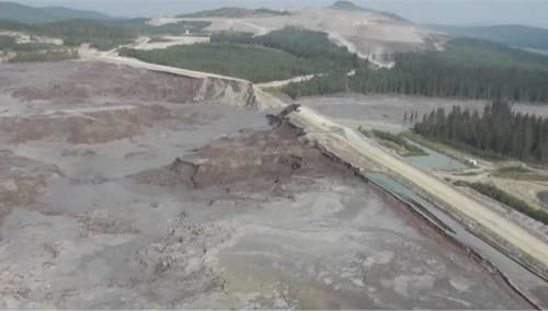 The Mount Polley mine tailings lake breach occurred on August 4, 2014. Cariboo Regional District photo.