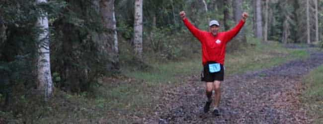 Ned Rozell at 2 a.m. in the Alaska Endurance Trail Run, held on the UAF campus. Photo by Chris Carlson.