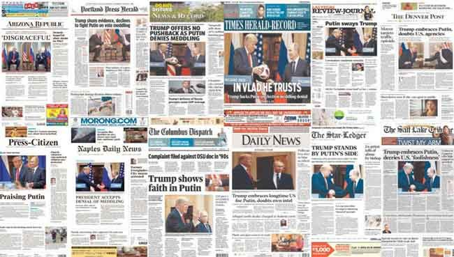 Newspapers across the nation respond to Trump's Helsinki performance. Image-DNC