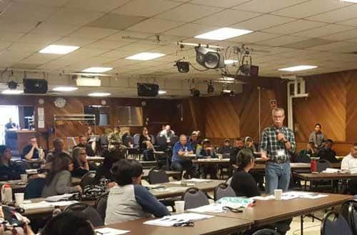 DHS&EM Director Mike Sutton in Nome addressing participants in the first Bering Strait and Norton Sound Rural Resiliency Workshop. Image-Alaska Division of Homeland Security and Emergency Management/Facebook