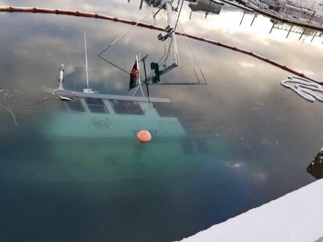 F/V Nordic Viking sunk at the Seward T-Dock. Image-AK DEC