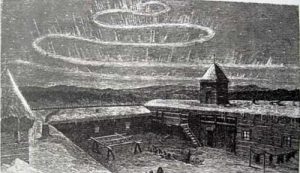 """A Frederick Whymper sketch of the aurora as seen from Nulato, December 1866. From """"Travel and Adventure in the Territory of Alaska."""""""