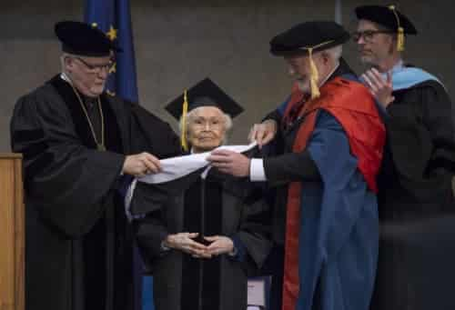 Marie receiving an honorary doctorate of humane letters from UAS, May 2018. (Michael Penn)