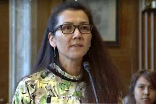 Mary Peltola, Executive Director of the Kuskokwim Inter-Tribal Fish Commission testifies during the Senate Committee on Indian Affairs hearing. Image-Office of Senator Murkowski