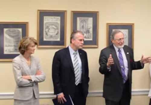 Alaska's delegation to Washington from left to right. Senator Lisa Murkowski, Senator Dan SUllivan, and Representative Don Young.