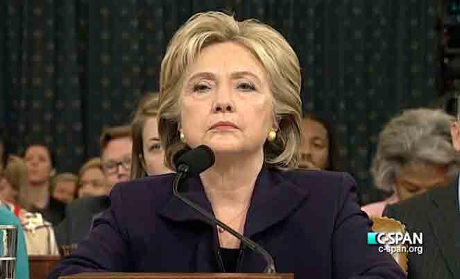 Hillary Clinton testifying at a House Select hearing. Image-CSpan