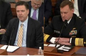 FBI Director James Comey and Director of the National Security Agency Admiral Michael Rogers testify in front of House Intelligence Committee Monday. Image-VOA