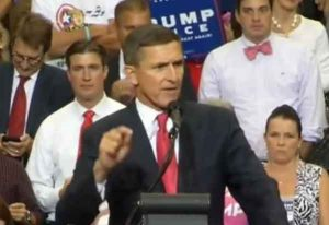 Michael Flynn speaking at an August 2016 Trump/Pence rally in Florida.Image-Youtube