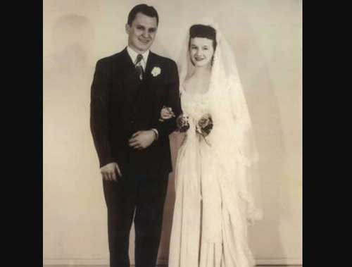 Former Governor Walter Hickel and his new wife Ermalee in a 1945 wedding photo. Image-governorwallyhickel.org