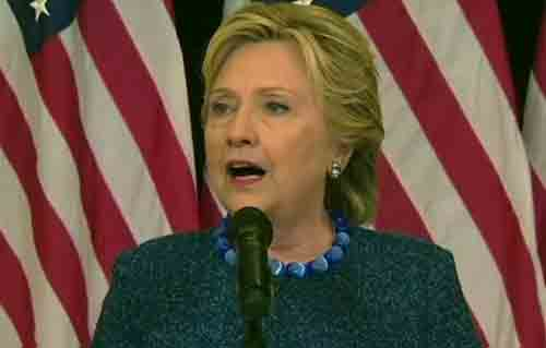 Presidential Candidate Hillary Clinton at press conference concerning new email revelation. Image-Web video grab