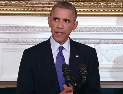 President Obama making statement on Iraq today. Image-White House
