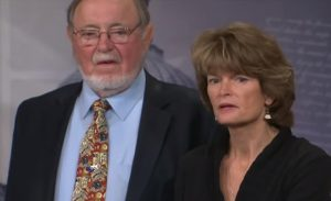 Don Young and Lisa Murkowski at a press conference discussing Alaska' oil production and ANWR. Image-Screenshot Senate Energy and Natural Resources Committee video