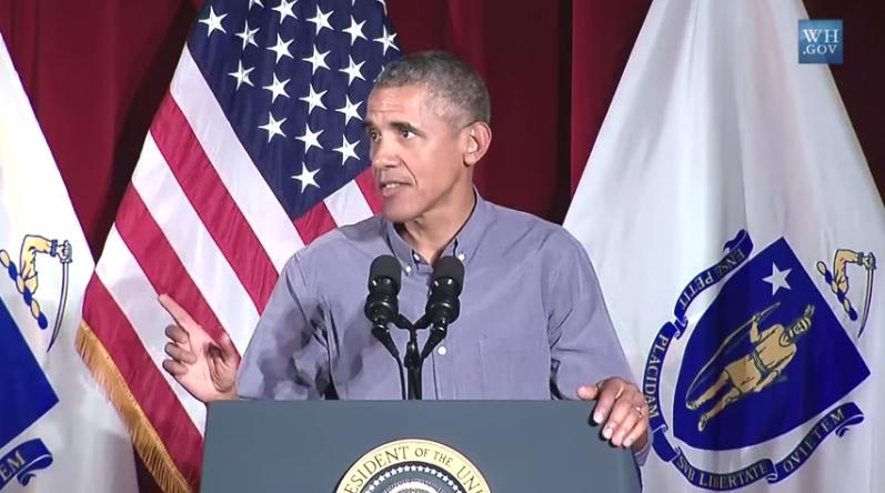 President Obama speaking at the Labor Day Nreakfast in Boston. Image-Whitehouse