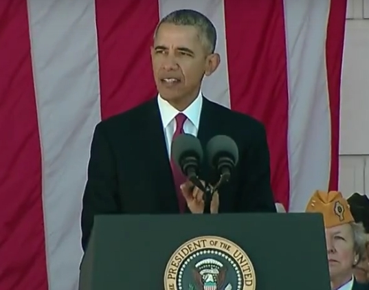 President Obama speaks at the Veteran's Day Ceremony at Arlington National Cemetery. Image-White House