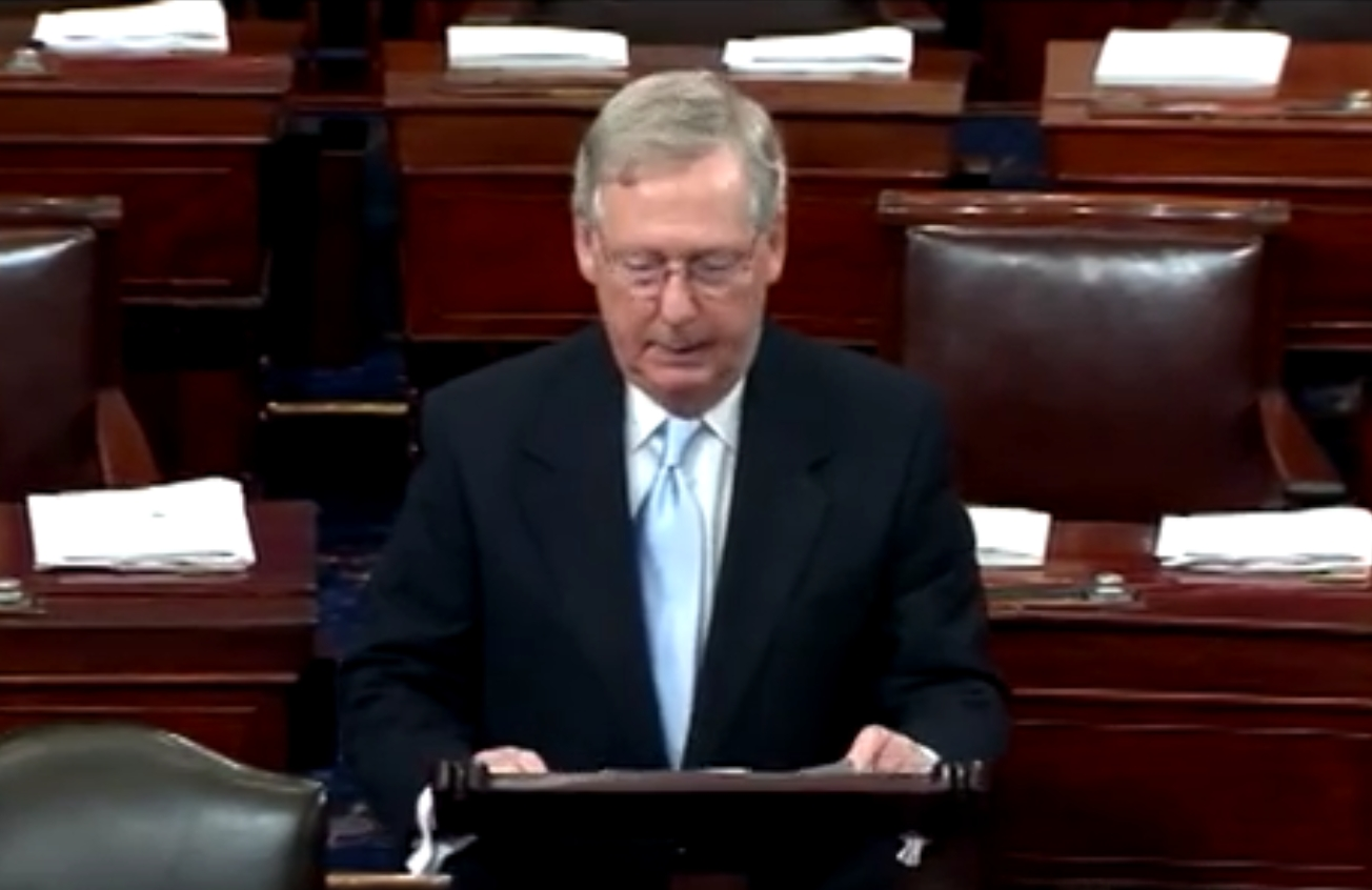 """Senate Majority Leader Mitch McConnell blasted the accord as """"unattainable"""" and """"based on a domestic energy plan that is likely illegal, that half the states have sued to halt, and that Congress has already voted to reject."""" Image-VOA"""