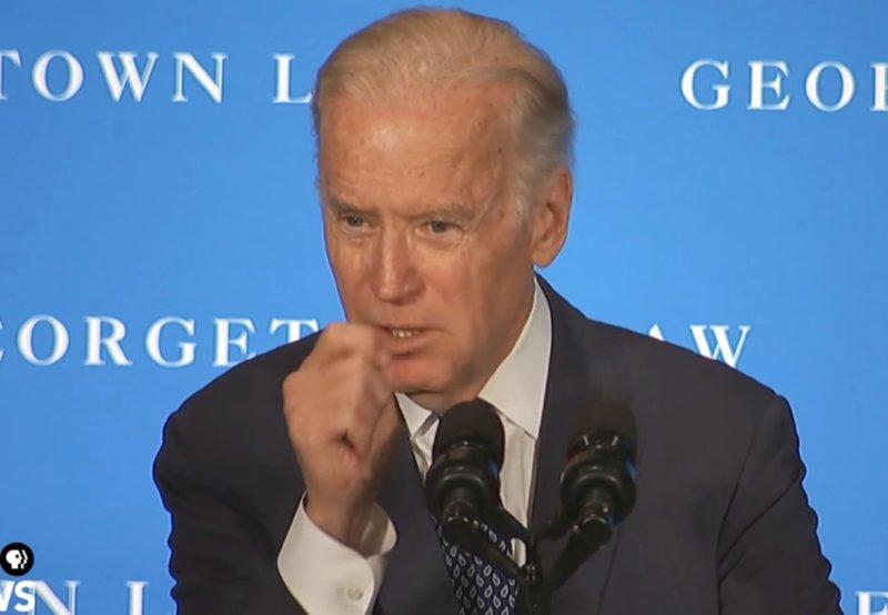 Vice President Joe Biden speaking at Georgetown Law School on Thursday.Image-Screengrab/PBS NewsHour