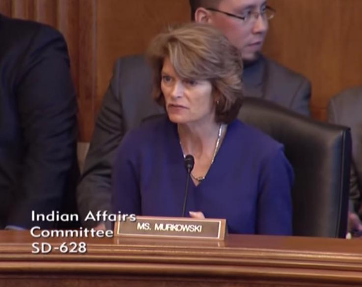 Senator Murkowski speaking to the Indian Affairs Committee on Wednesday. Image-Office of Senator Murkowski