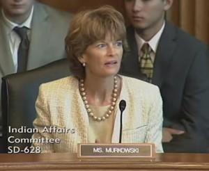 Senator Murkowski speaking at an Indian Affairs committee hearing.