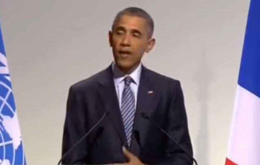President Obama speaking at the COP21 in Paris.