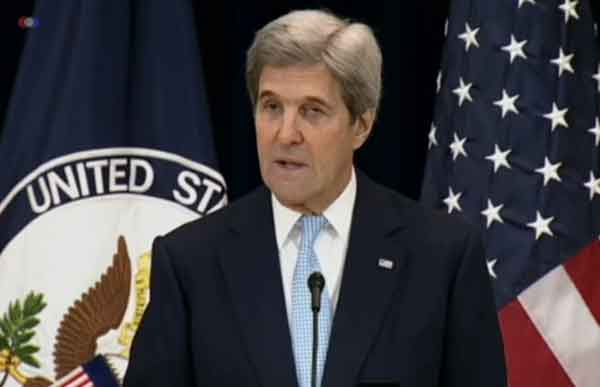 "Secretary of State John Kerry said in a speech today that the Middle East Two State Solution is in ""serious jeopardy."""
