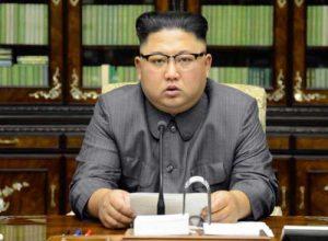 North Korean leader Kim Jong Un reading his response to President Trump's UN speech. Image-KCNA