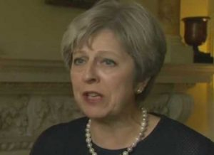 British Prime Minister Theresa May speaking on Friday's commuter terror attack. Image-VOA