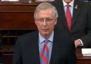 Senate Majority Leader Mitch McConnell speaking on the floor after the vote. Image-CSPAN screengrab