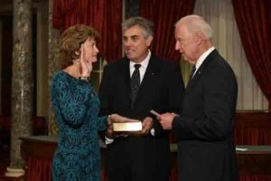 Alaska's Senator, Lisa Murkowski sworn in for her fourth term by Vice-President Jpseph Biden.